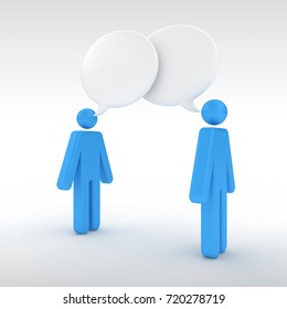3D Illustration of two people Communicating with overlapping Speech Bubbles showing effective communication