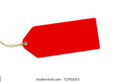 3d illustration of a typical red price tag isolated on white background