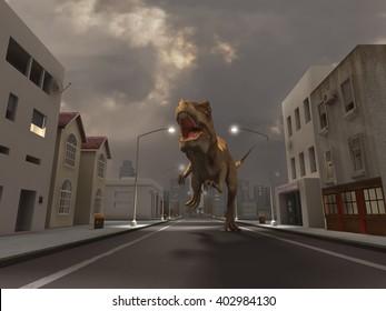 3d illustration of a Tyrannosaurus Rex running down the street