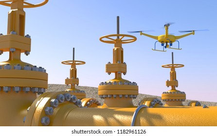 3D illustration of a UAV drone in flight inspecting oil/gas pipeline valves. Fictitious UAV, motion blur and depth-of-field for dramatic effect.