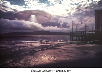 3D illustration. UFO arriving on beach vacation. Alien spacecraft coming out of the clouds over the sea.