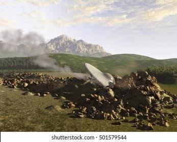 3d illustration of a UFO crashed on Earth