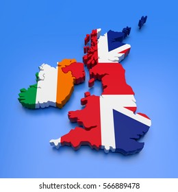 3D illustration of UK and Ireland map