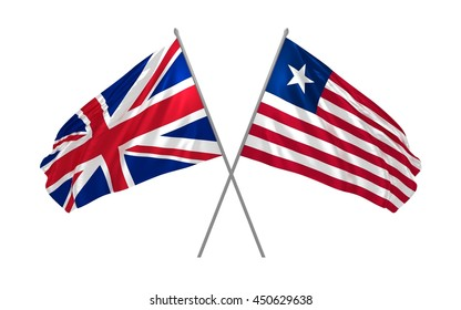 3d illustration of UK and Liberia flags together waving in the wind