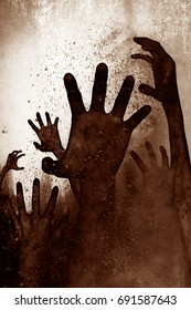 3d illustration of undead hands from the ground