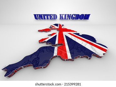 3D Illustration of United Kingdom map with as Flag