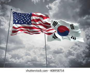 3D illustration of United States of America & South Korea Flags are waving in the sky with dark clouds