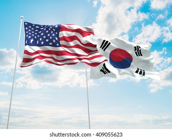 3D illustration of United States of America & South Korea Flags are waving in the sky