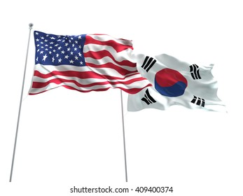 3D illustration of United States of America & South Korea Flags are waving on the isolated white background