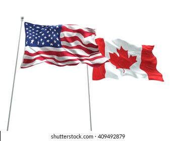 3D illustration of United States of America & Canada Flags are waving on the isolated white background