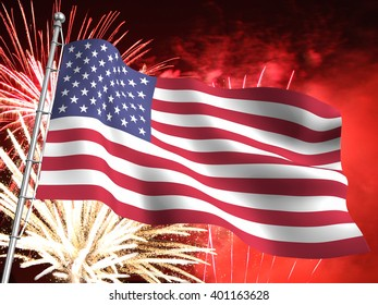 3D illustration of the United States flag with massive fireworks display in the background