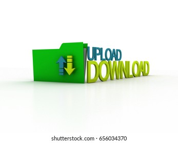 3d illustration uploading downloading