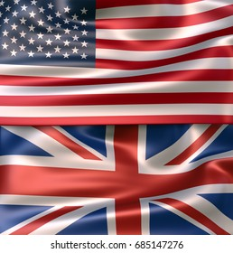 3D Illustration of USA flag and of the national flag of United Kingdom