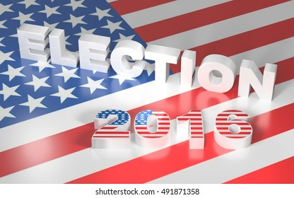 3D illustration with USA flag and text election 2016. 3D rendering.