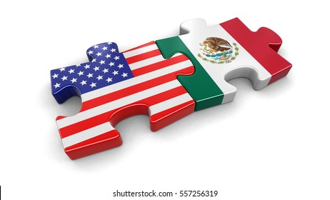 3D Illustration. USA and Mexico puzzle from flags. Image with clipping path