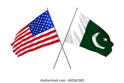 3d illustration of USA and Pakistan flags together waving in the wind