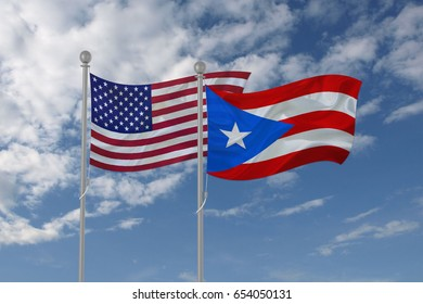 3d illustration of USA and Puerto Rico flag waving in the sky