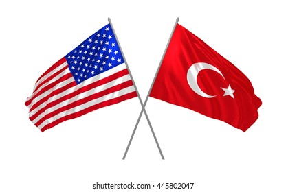 3d illustration of USA and Turkey flags waving in the wind