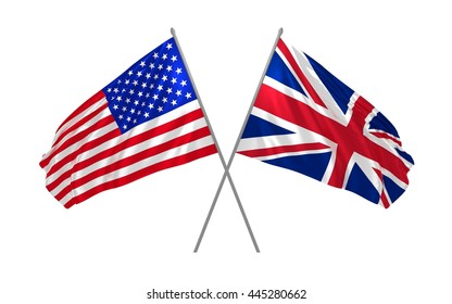 3d illustration of USA and UK flags waving together