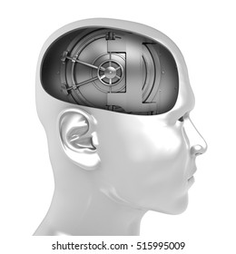 3d illustration of vault door inside man head over white background