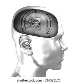 3d illustration of vault door inside chrome head over white background
