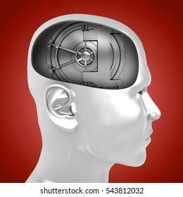 3d illustration of vault door inside man head over red background