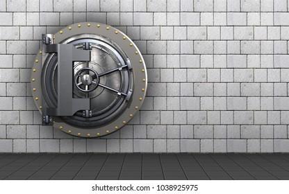 3d illustration of vault door  over white stones background