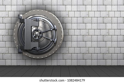 3d illustration of vault door  over white stones background