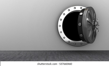 3d illustration of vault door over bricks background