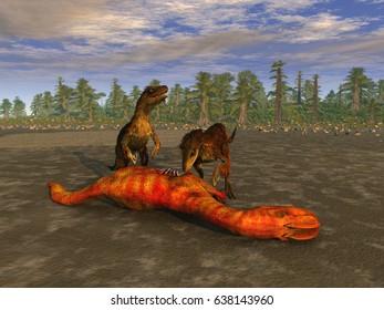 3d illustration of velociraptors eating a prey