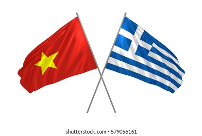 3d illustration of Vietnam and Greece crossed state flags waving