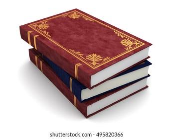 3d illustration of vintage books stack, over white background