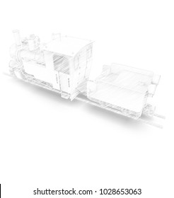 3d illustration of vintage train.