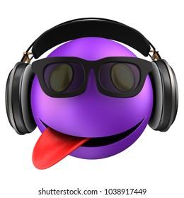 3d illustration of violet emoticon smile with black headphones over white background