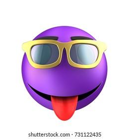 3d illustration of violet emoticon smile over white background with blue eyes