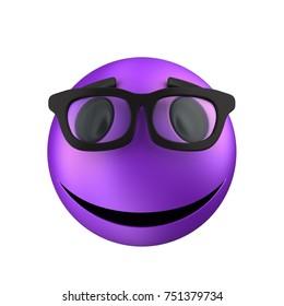 3d illustration of violet emoticon smile over white background with black eyes