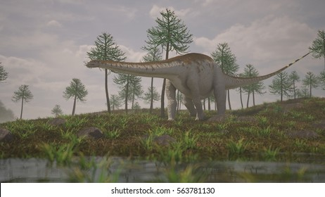 3d illustration of the walking apatosaurus