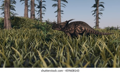 3d illustration of the walking einiosaurus among tempskya trees