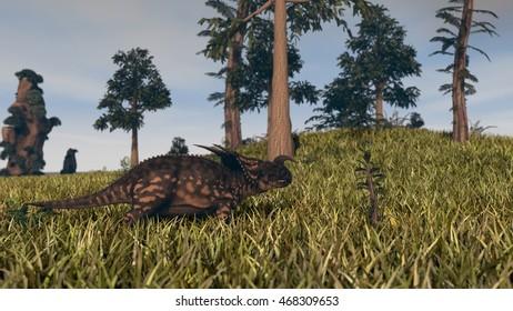 3d illustration of the walking einiosaurus dinosaur