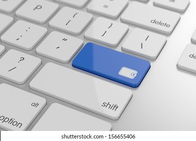 3d illustration of wallet button on keyboard with soft focus