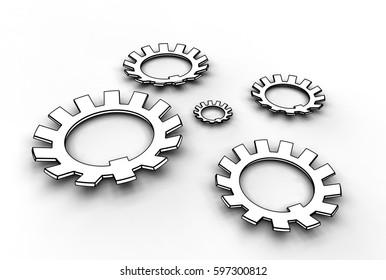 3d illustration of washers on white background