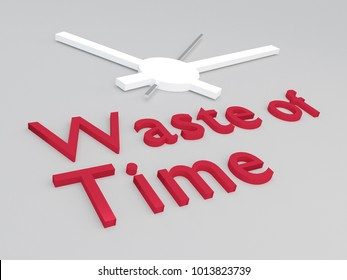 3D illustration of Waste of Time title with a clock as a background