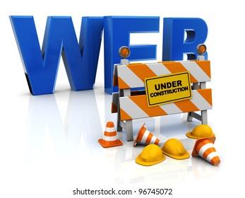 3d illustration of web construction concept