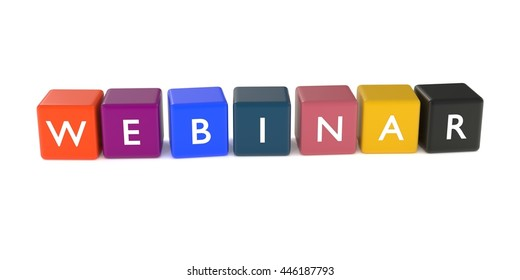 3d illustration of webinar word from colored cubes