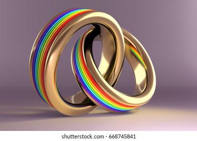 3d illustration, Wedding Rings symbolizing the same sex marriage