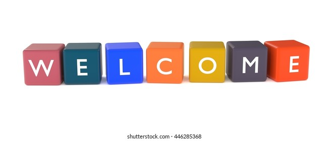 3d illustration of welcome word from colored cubes