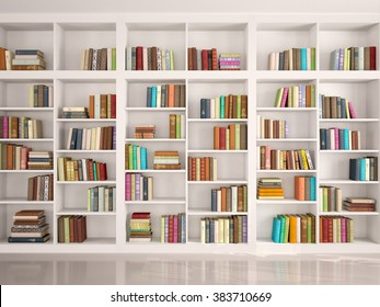 Bookshelves Images Bookshelf images stock photos vectors shutterstock 3d illustration of white bookshelves with various colorful books sisterspd