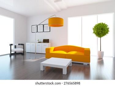 3d illustration of a white living room with orange furniture