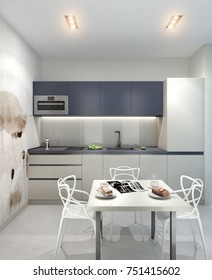 3d illustration white modern kitchen with white cupboards and large widow,