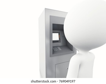3d illustration. White people with ATM machine. Isolated white background